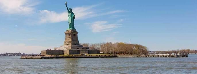 Statue of Liberty and Ellis Island in New York NY