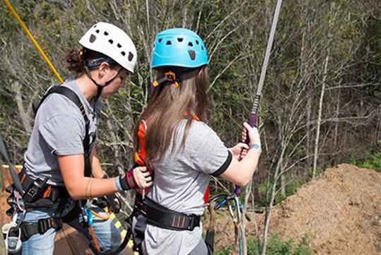 Dueling Zipline and True Blue Rappel at Anakeesta Adventure Park in Gatlinburg, Tennessee