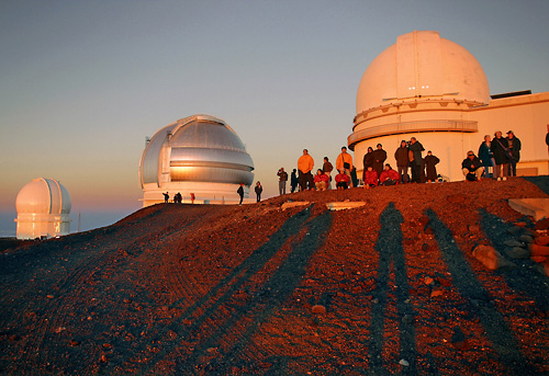 Observatories at Mauna Kea Summit at Sunset