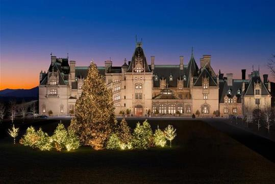 Candlelight Christmas Evening on Biltmore Estate in Asheville, North Carolina