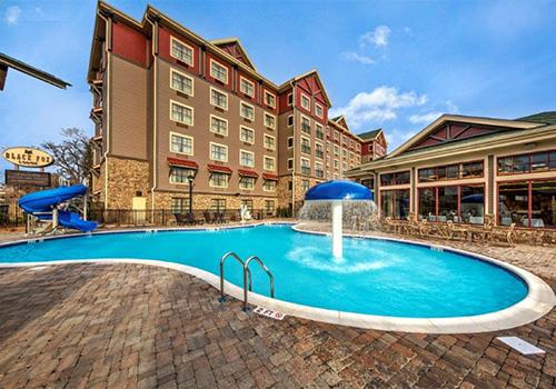 Outdoor Pool Area at Black Fox Lodge in Pigeon Forge, Tennessee