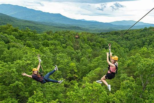 Zip side-by-side with friends and family! - CLIMB Works Smoky Mountains in Gatlinburg, TN