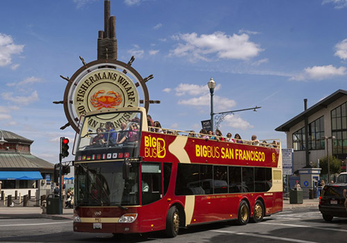 See San Francisco at your own pace from an open-air double-decker bus!