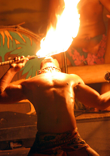 Exciting Fireknife Dancer at the Drums of the Pacific Luau in Lahaina, Hawaii