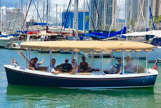 Starting the Ala Wai Harbor and Canal tour - Hawaii Electric Boat Tours in Honolulu, HI