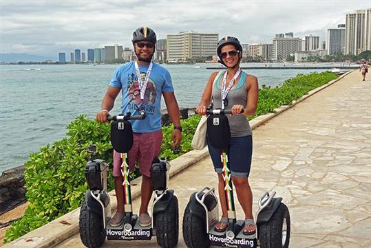 Enjoying the beach views. - Waikiki Ala Wai Canal Wiki Tour with Hawaii Hoverboarding Tours in Honolulu, HI