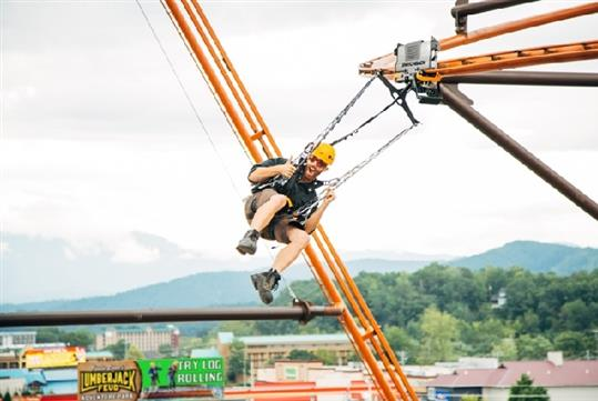 The Flying Ox - the first-of-its-kind zipline/coaster experience at Paula Deen's Lumberjack Adventure Park in Pigeon Forge, Tennessee!