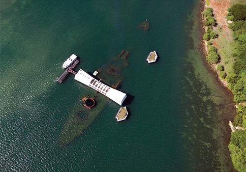 USS Arizona Memorial - Aerial Shot - Pearl Harbor City Tour in Honolulu, Hawaii