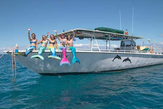 Rent our 5 mermaid tail for photos only - Book a Private Charter Snorkel Vessel to a Lanai Tropical Hide Away Destination from Lahaina, HI