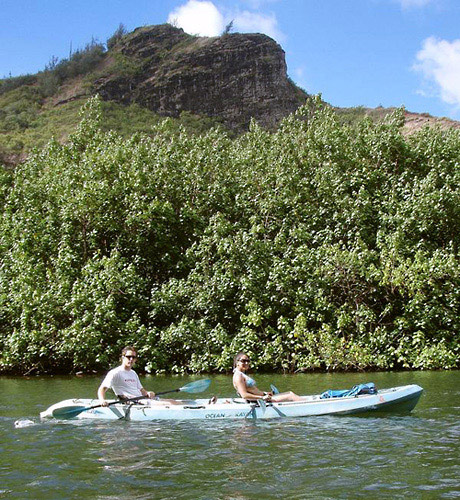 Kayaking along the Wailua River