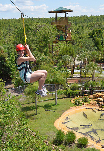 Screamin' Gator Zip Line includes Gatorland park admission in Orlando, Florida