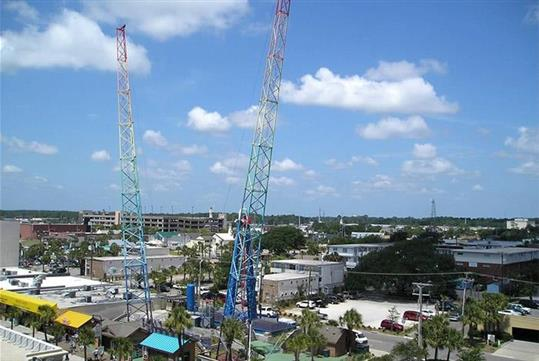 Beautiful Day For Riding The Sling Shot Thrill Ride In Myrtle Beach