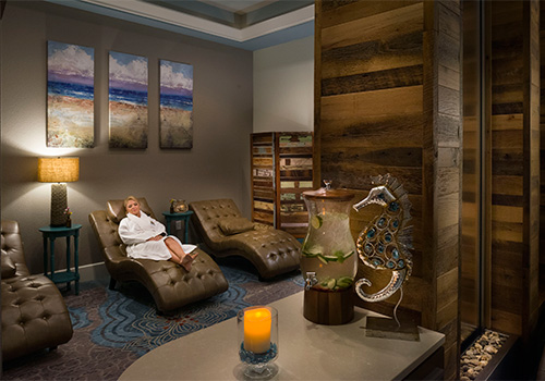 Come chill before or after your service in our Chill Room with custom water feature! St. Somewhere Spa at Margaritaville Island Hotel in Pigeon Forge, Tennessee.