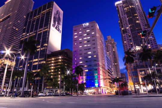 Hotel Front - Evening/Night - YVE Hotel Miami in Miami, FL