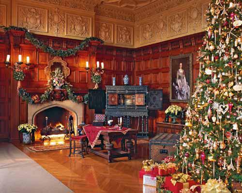 biltmore estate candlelight christmas evening in asheville north carolina oak sitting room - Biltmore House Christmas