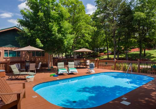 Cabins At Green Mountain In Branson, Missouri Front Entrance Pool Area  Front Of Resort ...