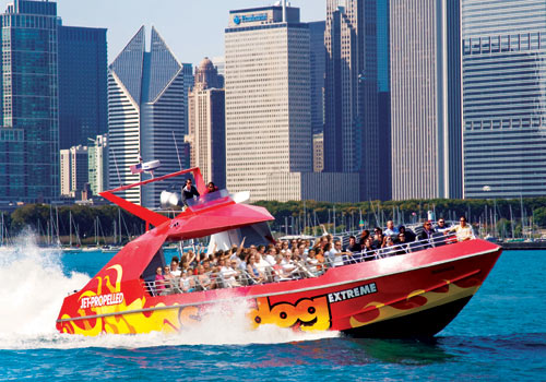 As you depart Chicago's Navy Pier, your Captain will tell you interesting facts about the Pier and Chicago's lakefront. Your Captain will then crank up the music and race south past Navy Pier to Chicago's Museum Campus where you will pause to hear about Chicago's interesting lakefront landmarks, architecture and history.